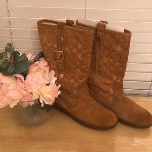 Coach Suede Tan Boots Size 9.5